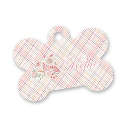 Modern Plaid & Floral Bone Shaped Dog Tag (Personalized)