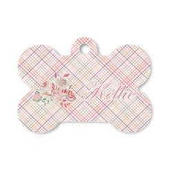 Modern Plaid & Floral Bone Shaped Dog ID Tag (Personalized)