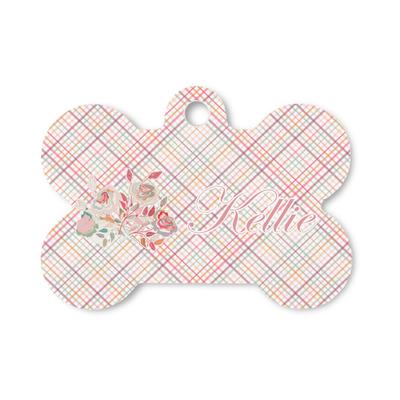 Modern Plaid & Floral Bone Shaped Dog Tag (Personalized)