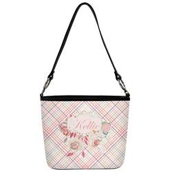Modern Plaid & Floral Bucket Bag w/ Genuine Leather Trim (Personalized)