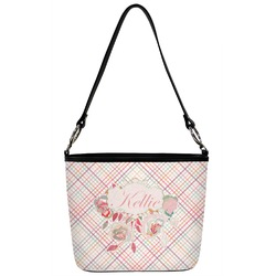 Modern Plaid & Floral Bucket Bag w/ Genuine Leather Trim (Personalized)