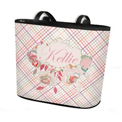 Modern Plaid & Floral Bucket Tote w/ Genuine Leather Trim (Personalized)