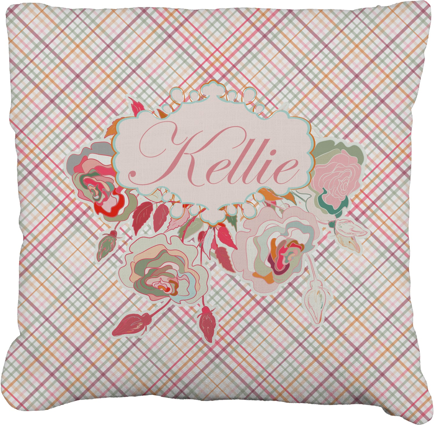 Modern Plaid Pillow : Modern Plaid & Floral Burlap Pillow 24