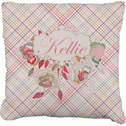"""Modern Plaid & Floral Faux-Linen Throw Pillow 26"""" (Personalized)"""