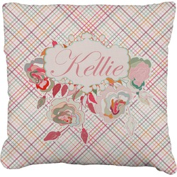 Modern Plaid & Floral Faux-Linen Throw Pillow (Personalized)