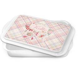 Modern Plaid & Floral Cake Pan (Personalized)