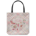 Modern Plaid & Floral Canvas Tote Bag (Personalized)