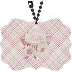 Modern Plaid & Floral Rear View Mirror Decor (Personalized)