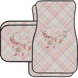 Modern Plaid & Floral Car Floor Mats (Personalized)