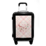 Modern Plaid & Floral Carry On Hard Shell Suitcase (Personalized)