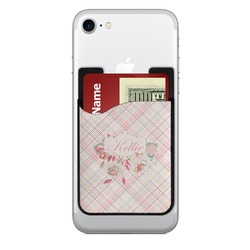 Modern Plaid & Floral Cell Phone Credit Card Holder (Personalized)