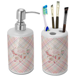 Modern Plaid & Floral Bathroom Accessories Set (Ceramic) (Personalized)