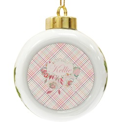 Modern Plaid & Floral Ceramic Ball Ornament (Personalized)