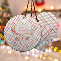 Modern Plaid & Floral Ceramic Ornament w/ Name or Text