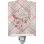 Modern Plaid & Floral Ceramic Night Light (Personalized)