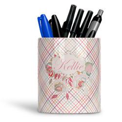 Modern Plaid & Floral Ceramic Pen Holder