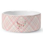 Modern Plaid & Floral Ceramic Dog Bowl (Personalized)