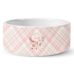 Modern Plaid & Floral Ceramic Pet Bowl (Personalized)