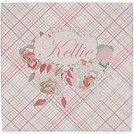 Modern Plaid & Floral Ceramic Tile Hot Pad (Personalized)