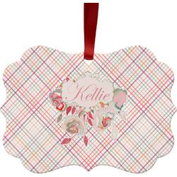 Modern Plaid & Floral Ornament (Personalized)