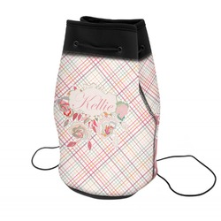 Modern Plaid & Floral Neoprene Drawstring Backpack (Personalized)