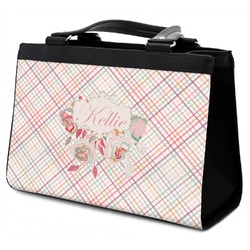 Modern Plaid & Floral Classic Tote Purse w/ Leather Trim (Personalized)