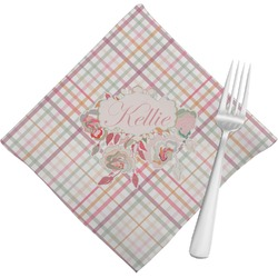 Modern Plaid & Floral Cloth Napkins (Set of 4) (Personalized)