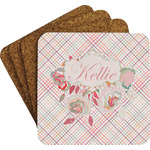 Modern Plaid & Floral Coaster Set (Personalized)