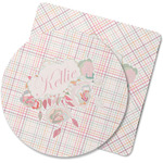 Modern Plaid & Floral Rubber Backed Coaster (Personalized)