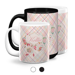 Modern Plaid & Floral Coffee Mugs (Personalized)