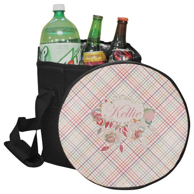Modern Plaid & Floral Collapsible Cooler & Seat (Personalized)