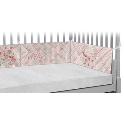 Modern Plaid & Floral Crib Bumper Pads (Personalized)