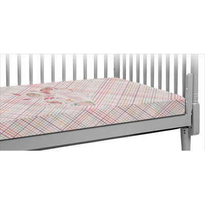 Modern Plaid & Floral Crib Fitted Sheet (Personalized)
