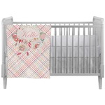 Modern Plaid & Floral Crib Comforter / Quilt (Personalized)