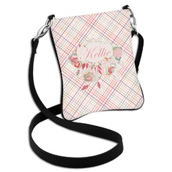Modern Plaid & Floral Cross Body Bag - 2 Sizes (Personalized)