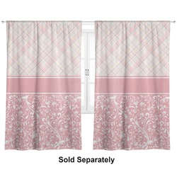"Modern Plaid & Floral Curtains - 40""x63"" Panels - Lined (2 Panels Per Set) (Personalized)"