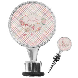 Modern Plaid & Floral Wine Bottle Stopper (Personalized)