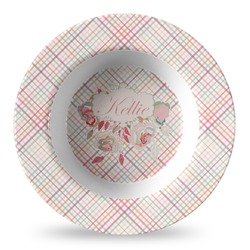 Modern Plaid & Floral Plastic Bowl - Microwave Safe - Composite Polymer (Personalized)