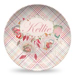 Modern Plaid & Floral Microwave Safe Plastic Plate - Composite Polymer (Personalized)
