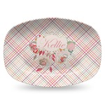 Modern Plaid & Floral Plastic Platter - Microwave & Oven Safe Composite Polymer (Personalized)