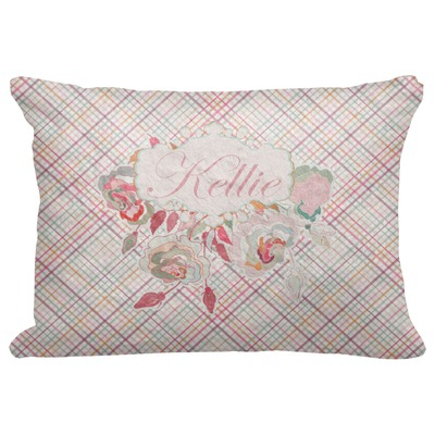 """Modern Plaid & Floral Decorative Baby Pillowcase - 16""""x12"""" (Personalized)"""
