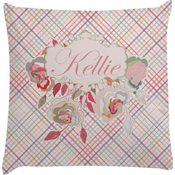 Modern Plaid & Floral Decorative Pillow Case (Personalized)