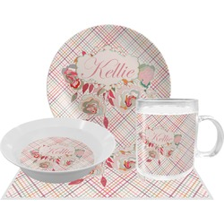 Modern Plaid & Floral Dinner Set - 4 Pc (Personalized)