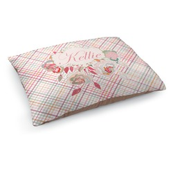 Modern Plaid & Floral Dog Pillow Bed (Personalized)