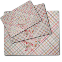 Modern Plaid & Floral Dog Food Mat w/ Name or Text