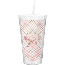 Modern Plaid & Floral Double Wall Tumbler with Straw (Personalized)