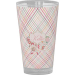 Modern Plaid & Floral Drinking / Pint Glass (Personalized)