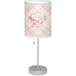 """Modern Plaid & Floral 7"""" Drum Lamp with Shade Linen (Personalized)"""