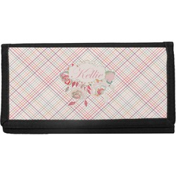 Modern Plaid & Floral Canvas Checkbook Cover (Personalized)