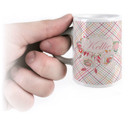 Modern Plaid & Floral Espresso Mug - 3 oz (Personalized)